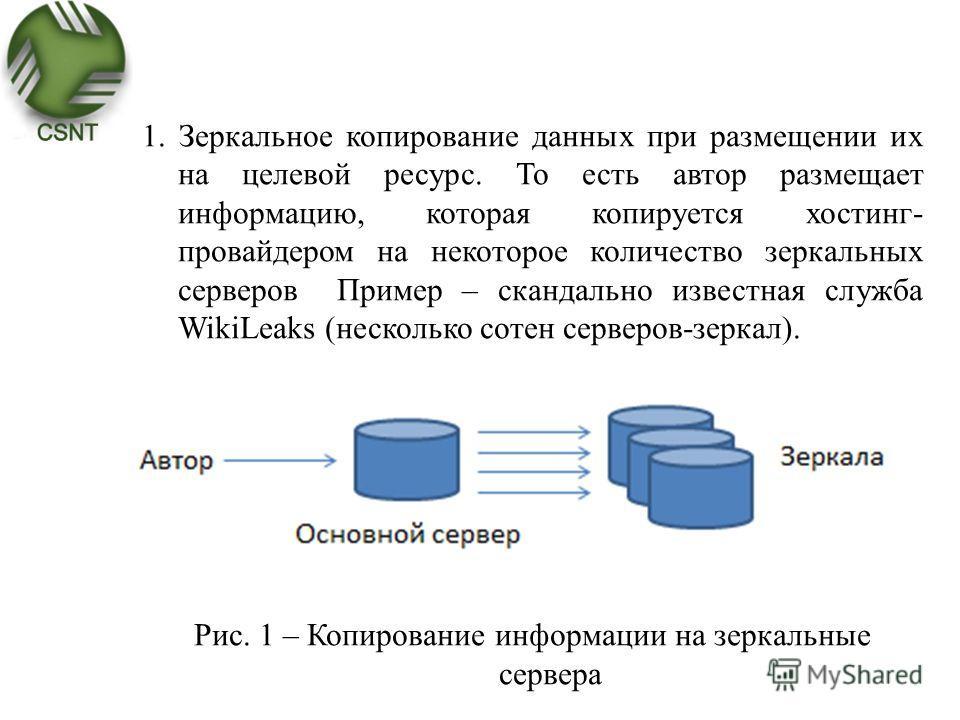 1. Зеркальное копирование данных при размещении их на целевой ресурс. То есть автор размещает информацию, которая копируется хостинг- провайдером на некоторое количество зеркальных серверов Пример – скандально известная служба WikiLeaks (несколько со