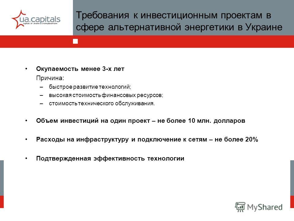 Требования к инвестиционным проектам в сфере альтернативной энергетики в Украине Окупаемость менее 3-х лет Причина: –быстрое развитие технологий; –высокая стоимость финансовых ресурсов; –стоимость технического обслуживания. Объем инвестиций на один п