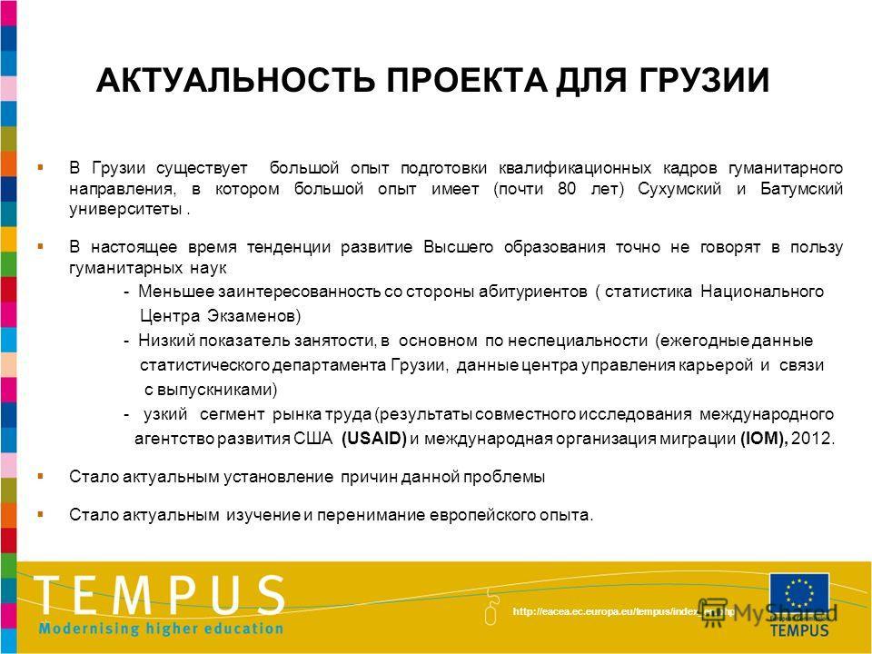 http://eacea.ec.europa.eu/tempus/index_en.php АКТУАЛЬНОСТЬ ПРОЕКТА ДЛЯ ГРУЗИИ В Грузии существует большой опыт подготовки квалификационных кадров гуманитарного направления, в котором большой опыт имеет (почти 80 лет) Сухумский и Батумский университет
