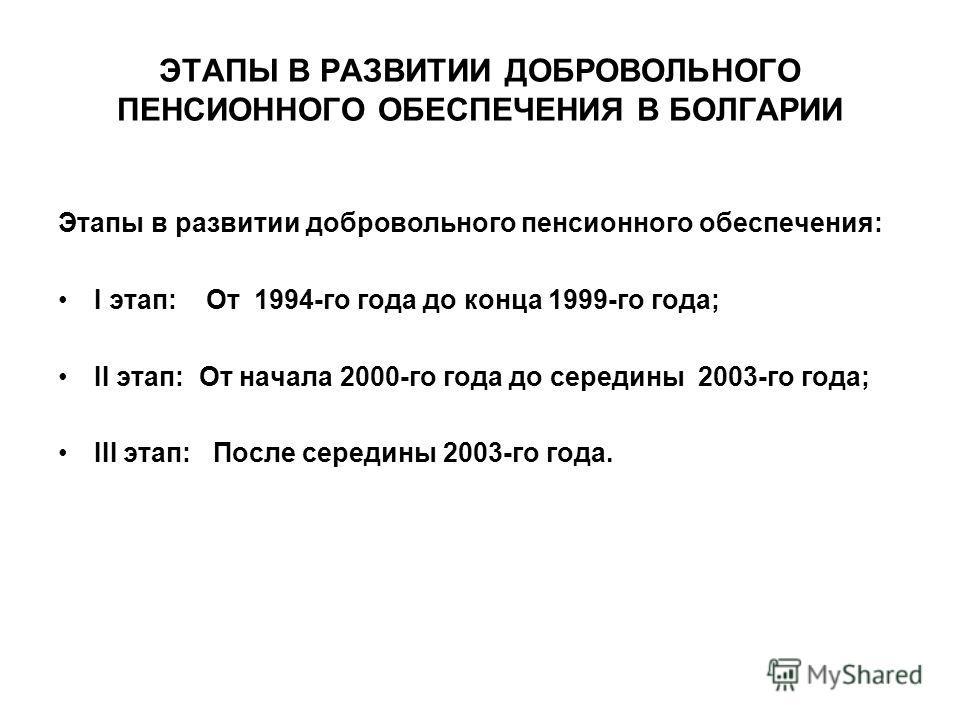 ЭТАПЫ В РАЗВИТИИ ДОБРОВОЛЬНОГО ПЕНСИОННОГО ОБЕСПЕЧЕНИЯ В БОЛГАРИИ Этапы в развитии добровольного пенсионного обеспечения: І этап: От 1994-го года до конца 1999-го года; ІІ этап: От начала 2000-го года до середины 2003-го года; ІІІ этап: После середин