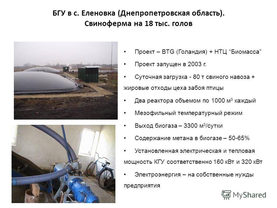 БГУ в с. Еленовка (Днепропетровская область). Свиноферма на 18 тыс. голов Проект – BTG (Голандия) + НТЦ Биомасса Проект запущен в 2003 г. Суточная загрузка - 80 т свиного навоза + жировые отходы цеха забоя птицы Два реактора объемом по 1000 м 3 кажды