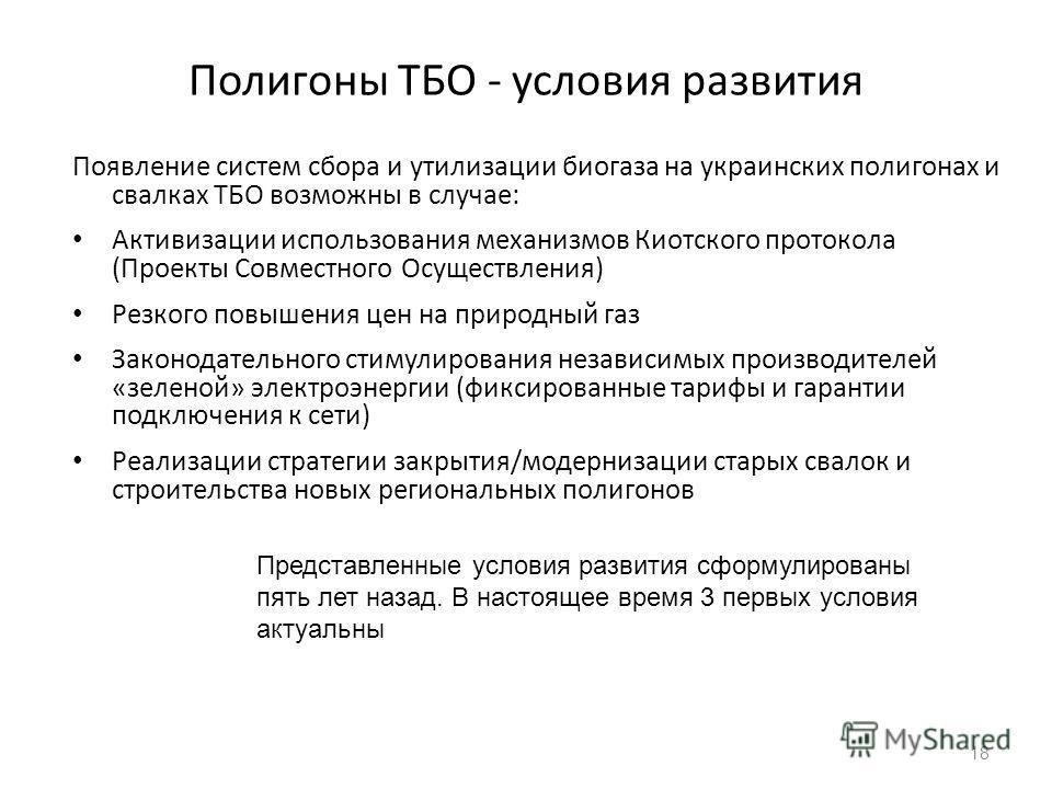 Полигоны ТБО - условия развития Появление систем сбора и утилизации биогаза на украинских полигонах и свалках ТБО возможны в случае: Активизации использования механизмов Киотского протокола (Проекты Совместного Осуществления) Резкого повышения цен на