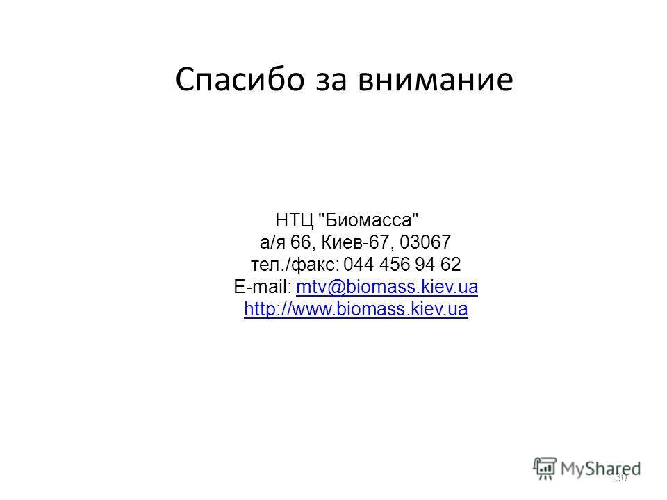 НТЦ Биомасса а/я 66, Киев-67, 03067 тел./факс: 044 456 94 62 E-mail: mtv@biomass.kiev.ua http://www.biomass.kiev.uamtv@biomass.kiev.ua http://www.biomass.kiev.ua Спасибо за внимание 30