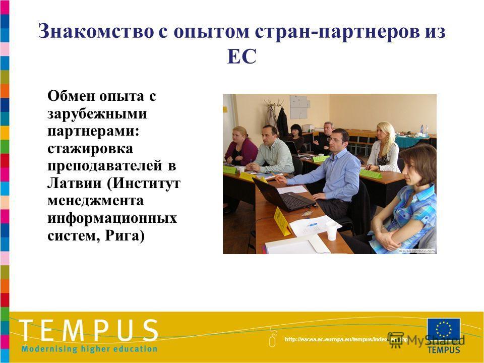 http://eacea.ec.europa.eu/tempus/index_en.php Знакомство с опытом стран-партнеров из ЕС Обмен опыта с зарубежными партнерами: стажировка преподавателей в Латвии (Институт менеджмента информационных систем, Рига)