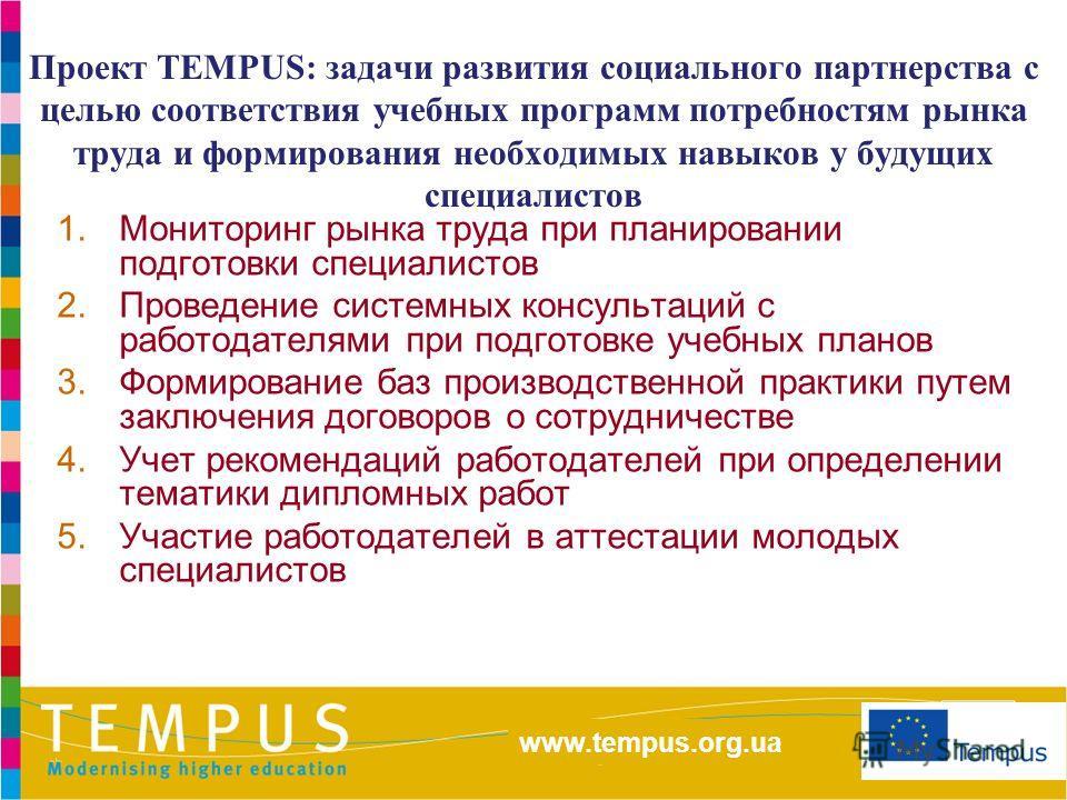 http://eacea.ec.europa.eu/tempus/index_en.php www.tempus.org.ua Проект TEMPUS: задачи развития социального партнерства с целью соответствия учебных программ потребностям рынка труда и формирования необходимых навыков у будущих специалистов 1.Монитори