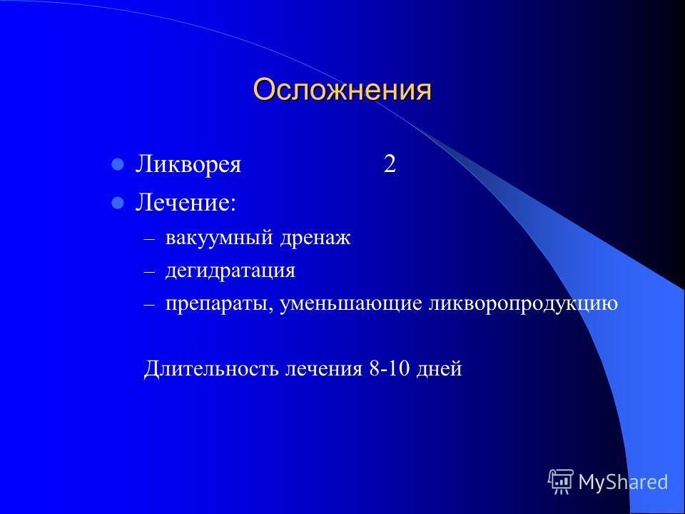 Осложнения Ликворея2 Лечение: – вакуумный дренаж – дегидратация – препараты, уменьшающие ликворопродукцию Длительность лечения 8-10 дней
