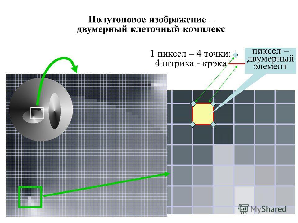 Полутоновое изображение – двумерный клеточный комплекс пиксел – двумерный элемент 1 пиксел – 4 точки: 4 штриха - крэка