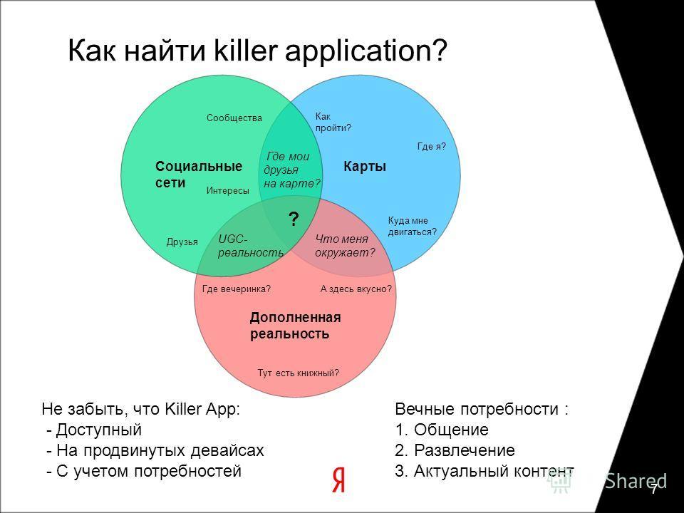 Как найти killer application? 7 Дополненная реальность Карты Социальные сети Что меня окружает? Где мои друзья на карте? UGC- реальность Где я? Куда мне двигаться? Как пройти? Друзья Интересы Сообщества Тут есть книжный? А здесь вкусно?Где вечеринка?