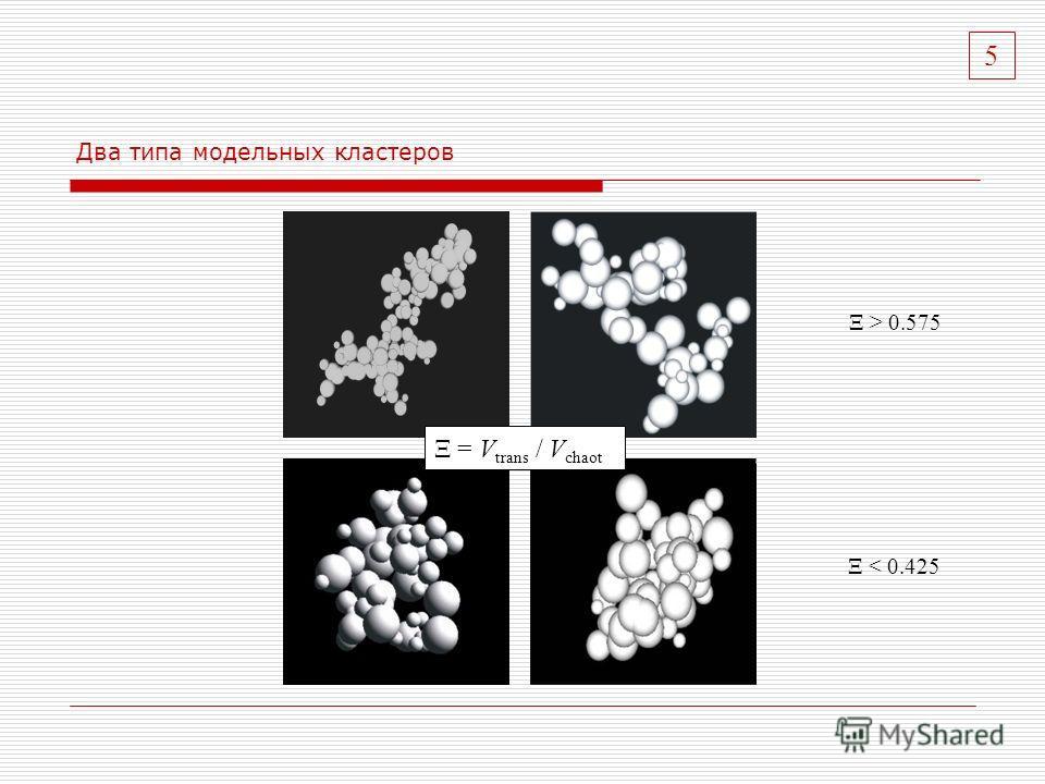 Два типа модельных кластеров Ξ < 0.425 Ξ > 0.575 Ξ = V trans / V chaot 5