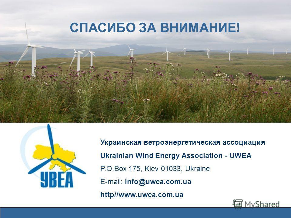 СПАСИБО ЗА ВНИМАНИЕ! Украинская ветроэнергетическая ассоциация Ukrainian Wind Energy Association - UWEA P.O.Box 175, Kiev 01033, Ukraine E-mail: info@uwea.com.ua http//www.uwea.com.ua