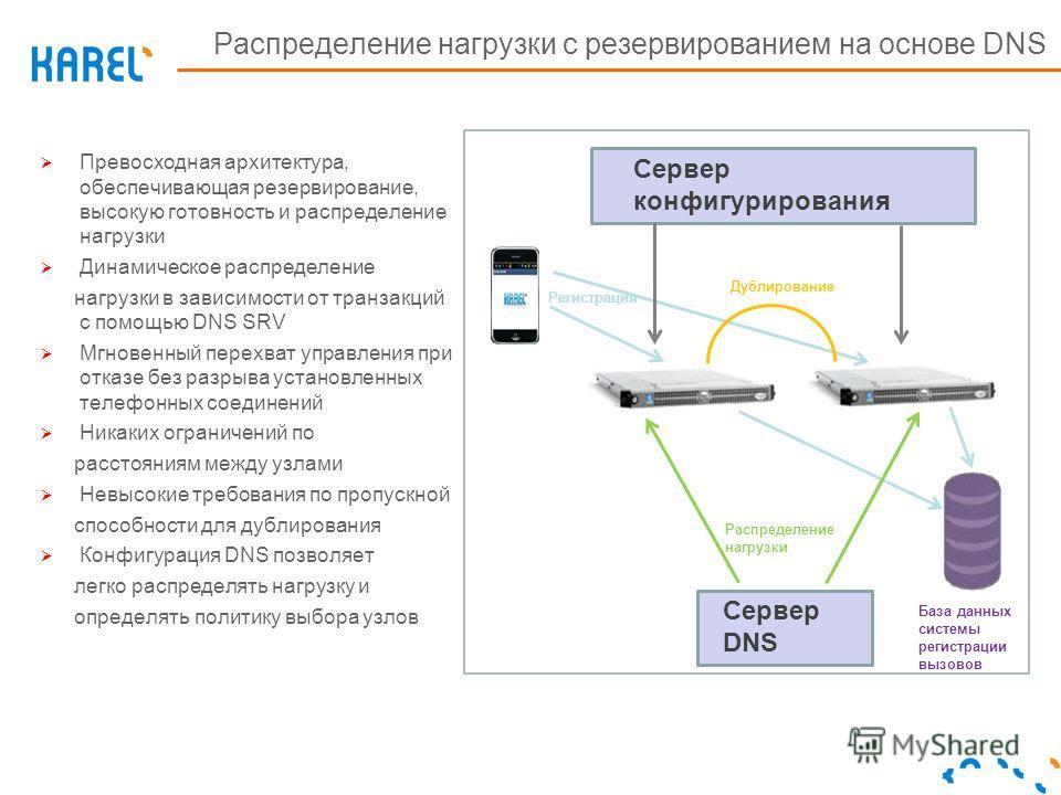 Превосходная архитектура, обеспечивающая резервирование, высокую готовность и распределение нагрузки Динамическое распределение нагрузки в зависимости от транзакций с помощью DNS SRV Мгновенный перехват управления при отказе без разрыва установленных