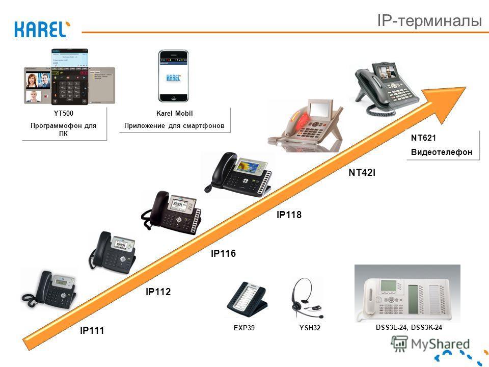 IP-терминалы EXP39YSH32 YT500 Программофон для ПК Karel Mobil Приложение для смартфонов NT42I IP116 IP118 IP112 IP111 NT62I Видеотелефон DSS3L-24, DSS3K-24 YT500 Программофон для ПК Karel Mobil Приложение для смартфонов NT621 Видеотелефон