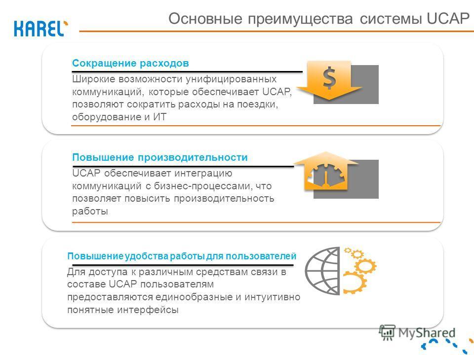 Сокращение расходов Широкие возможности унифицированных коммуникаций, которые обеспечивает UCAP, позволяют сократить расходы на поездки, оборудование и ИТ Повышение производительности UCAP обеспечивает интеграцию коммуникаций с бизнес-процессами, что