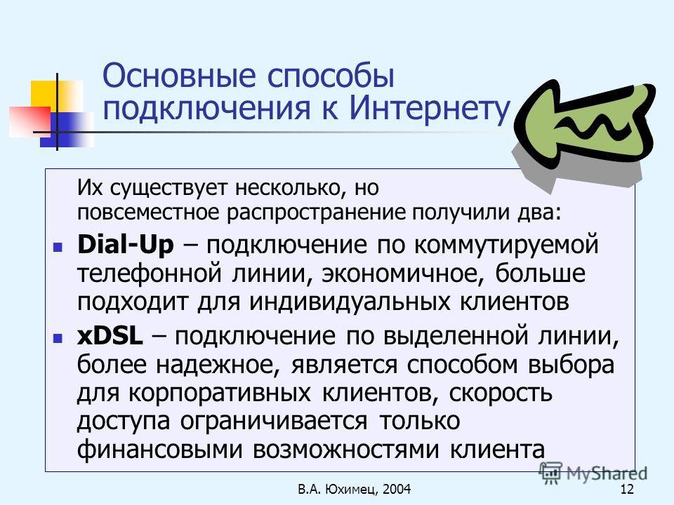 В.А. Юхимец, 200412 Основные способы подключения к Интернету Их существует несколько, но повсеместное распространение получили два: Dial-Up – подключение по коммутируемой телефонной линии, экономичное, больше подходит для индивидуальных клиентов xDSL