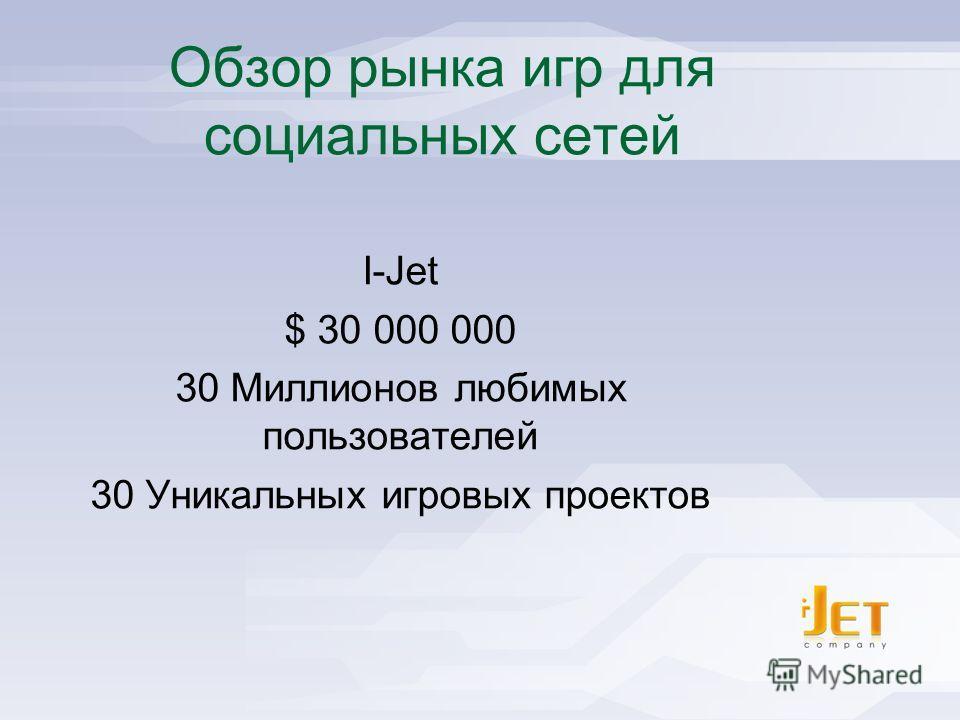I-Jet - Social Games Publisher Обзор рынка игр для социальных сетей I-Jet $ 30 000 000 30 Миллионов любимых пользователей 30 Уникальных игровых проектов