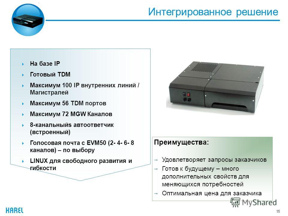 Интегрированное решение 15 На базе IP Готовый TDM Максимум 100 IP внутренних линий / Магистралей Максимум 56 TDM портов Максимум 72 MGW Каналов 8-канальныйs автоответчик (встроенный) Голосовая почта с EVM50 (2- 4- 6- 8 каналов) – по выбору LINUX для