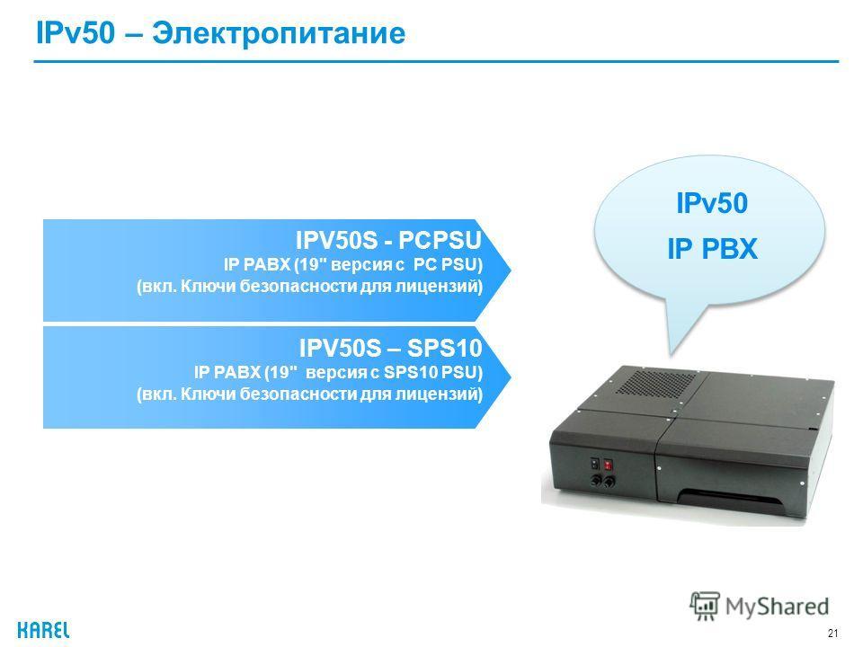 21 IPv50 – Электропитание IPV50S - PCPSU IP PABX (19 версия с PC PSU) (вкл. Ключи безопасности для лицензий) IPv50 IP PBX IPV50S – SPS10 IP PABX (19 версия с SPS10 PSU) (вкл. Ключи безопасности для лицензий)