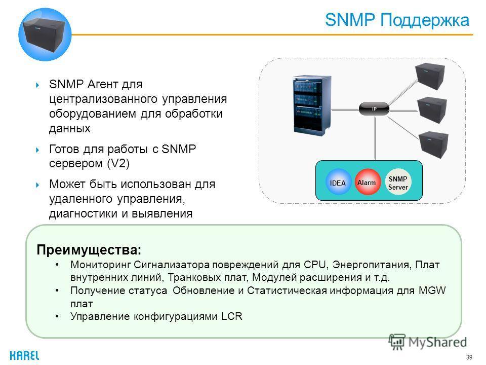 SNMP Поддержка 39 SNMP Агент для централизованного управления оборудованием для обработки данных Готов для работы с SNMP сервером (V2) Может быть использован для удаленного управления, диагностики и выявления неисправности Преимущества: Мониторинг Си