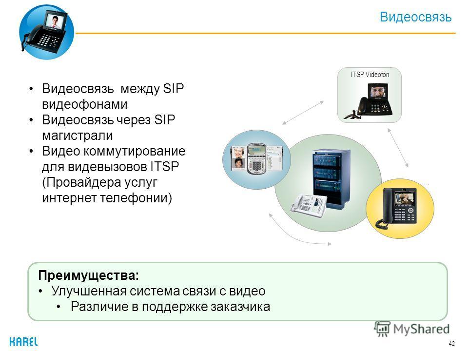 Видеосвязь 42 Видеосвязь между SIP видеофонами Видеосвязь через SIP магистрали Видео коммутирование для видевызовов ITSP (Провайдера услуг интернет телефонии) ITSP Videofon Преимущества: Улучшенная система связи с видео Различие в поддержке заказчика