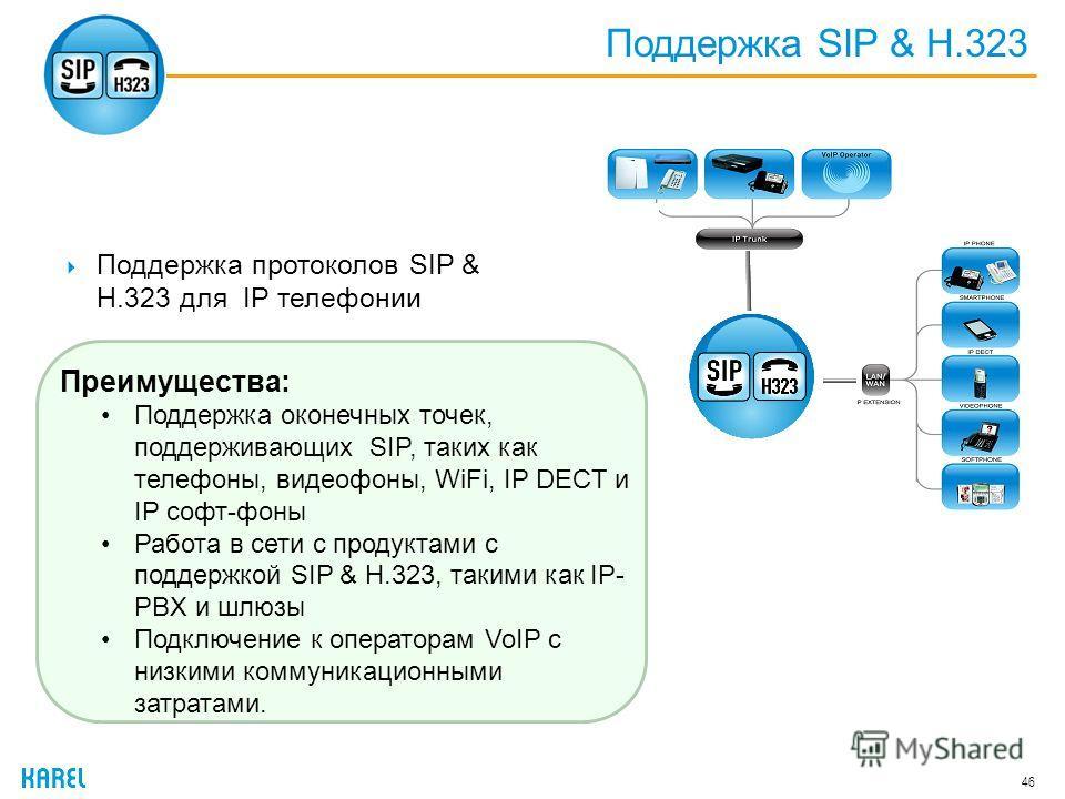 Поддержка SIP & H.323 46 Поддержка протоколов SIP & H.323 для IP телефонии Преимущества: Поддержка оконечных точек, поддерживающих SIP, таких как телефоны, видеофоны, WiFi, IP DECT и IP софт-фоны Работа в сети с продуктами с поддержкой SIP & H.323, т
