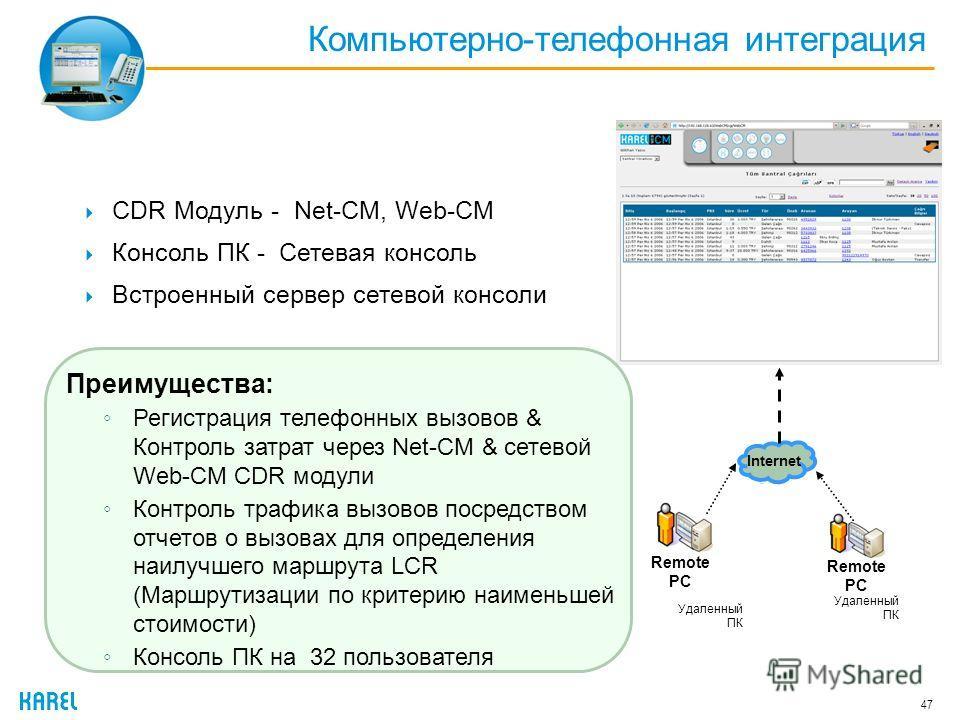 Компьютерно-телефонная интеграция 47 CDR Модуль - Net-CM, Web-CM Консоль ПК - Сетевая консоль Встроенный сервер сетевой консоли Remote PC Internet Преимущества: Регистрация телефонных вызовов & Контроль затрат через Net-CM & сетевой Web-CM CDR модули