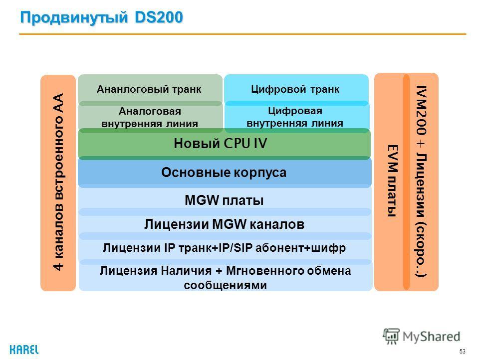 Продвинутый DS200 53 Основные корпуса Ананлоговый транк Аналоговая внутренняя линия Цифровой транк Цифровая внутренняя линия Новый CPU IV EVM платы 4 каналов встроенного AA MGW платыЛицензии MGW каналов Лицензии IP транк+IP/SIP абонент+шифр IVM200 +