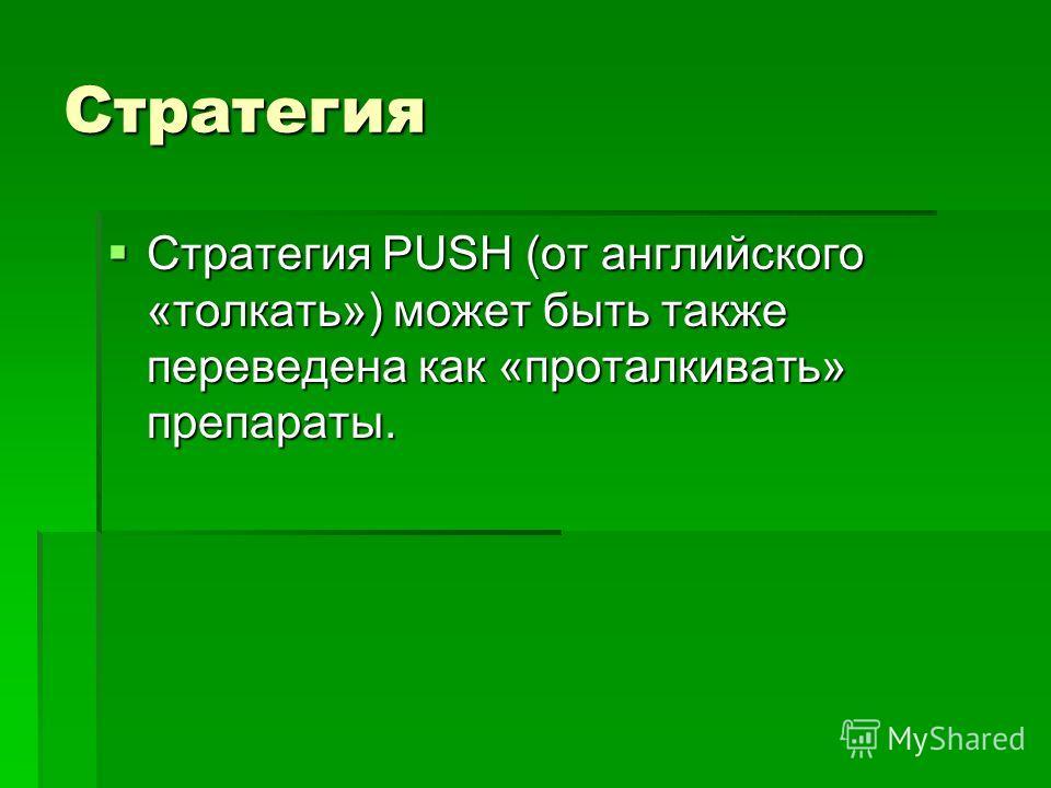 Стратегия Стратегия PUSH (от английского «толкать») может быть также переведена как «проталкивать» препараты. Стратегия PUSH (от английского «толкать») может быть также переведена как «проталкивать» препараты.