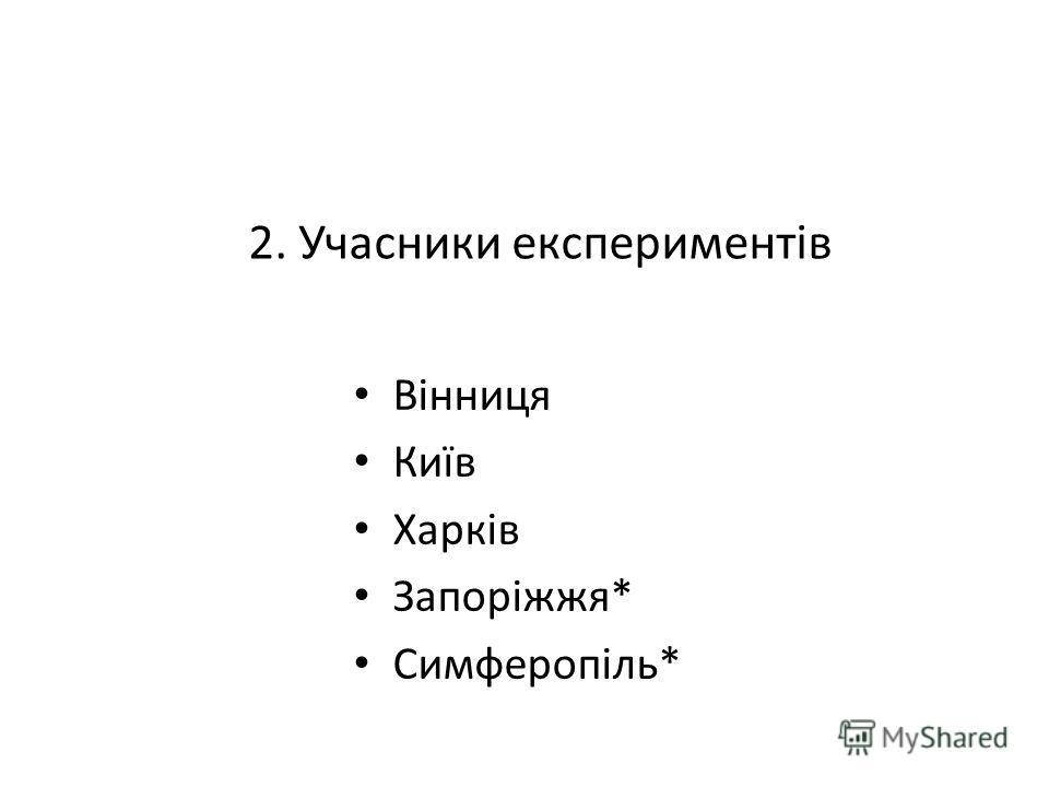 2. Учасники експериментів Вінниця Київ Харків Запоріжжя* Симферопіль*