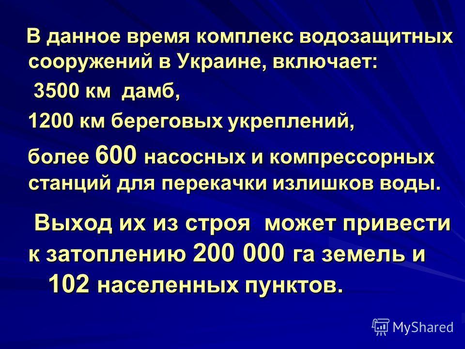 В данное время комплекс водозащитных сооружений в Украине, включает: В данное время комплекс водозащитных сооружений в Украине, включает: 3500 км дамб, 3500 км дамб, 1200 км береговых укреплений, 1200 км береговых укреплений, более 600 насосных и ком