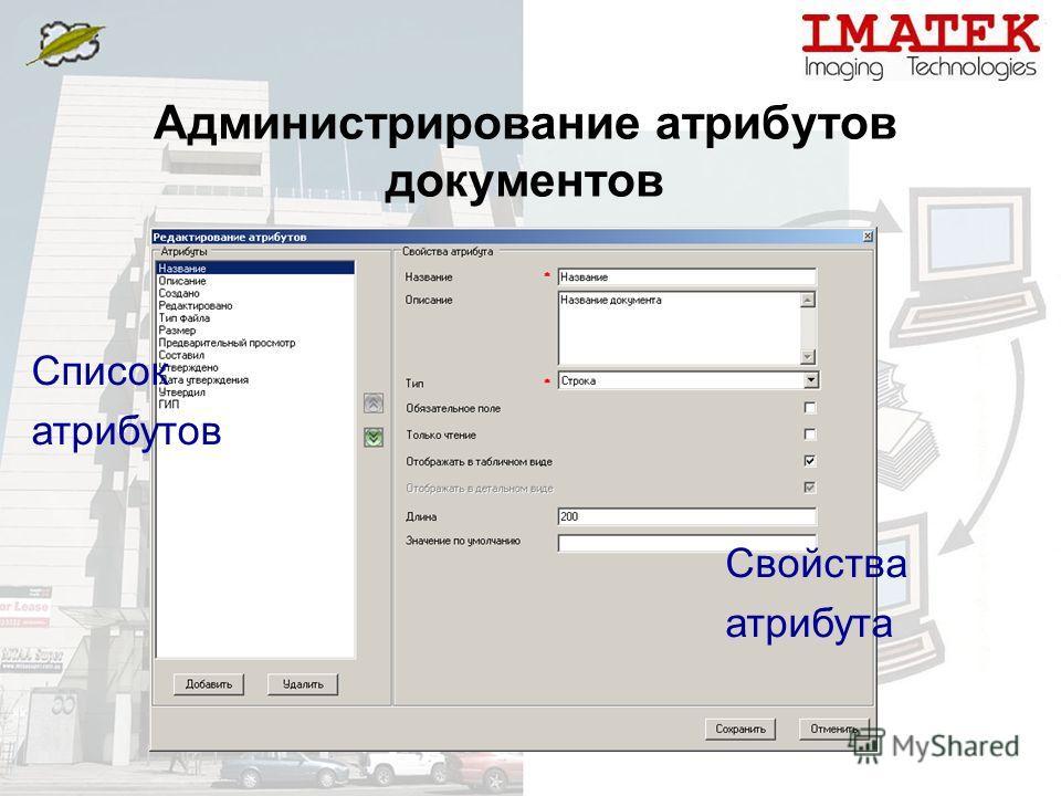 Администрирование атрибутов документов Свойства атрибута Список атрибутов