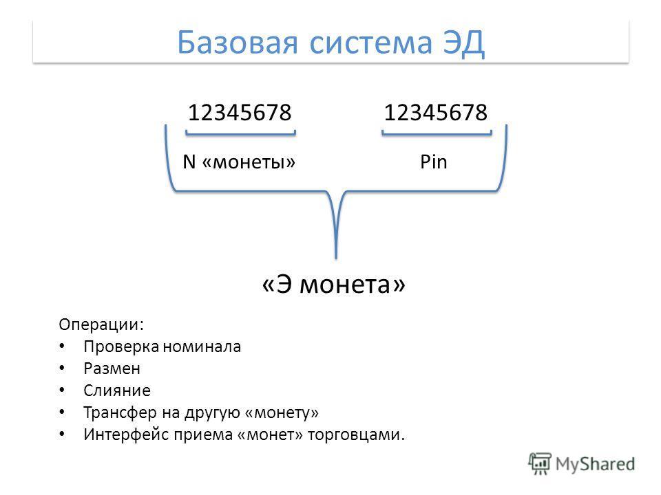 Базовая система ЭД 12345678 N «монеты»Pin «Э монета» Операции: Проверка номинала Размен Слияние Трансфер на другую «монету» Интерфейс приема «монет» торговцами.