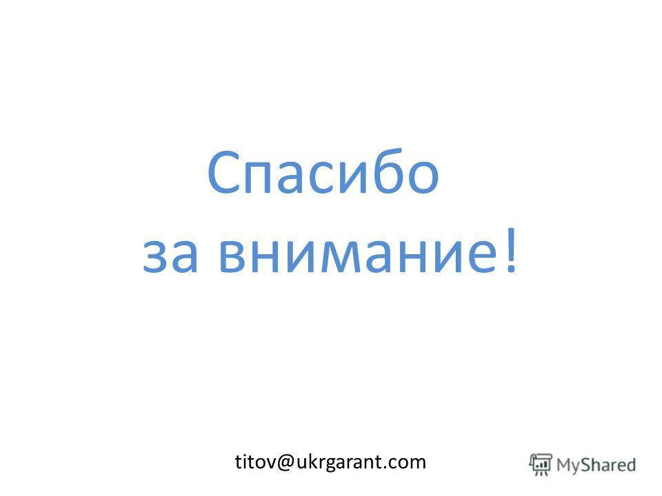 Спасибо за внимание! titov@ukrgarant.com