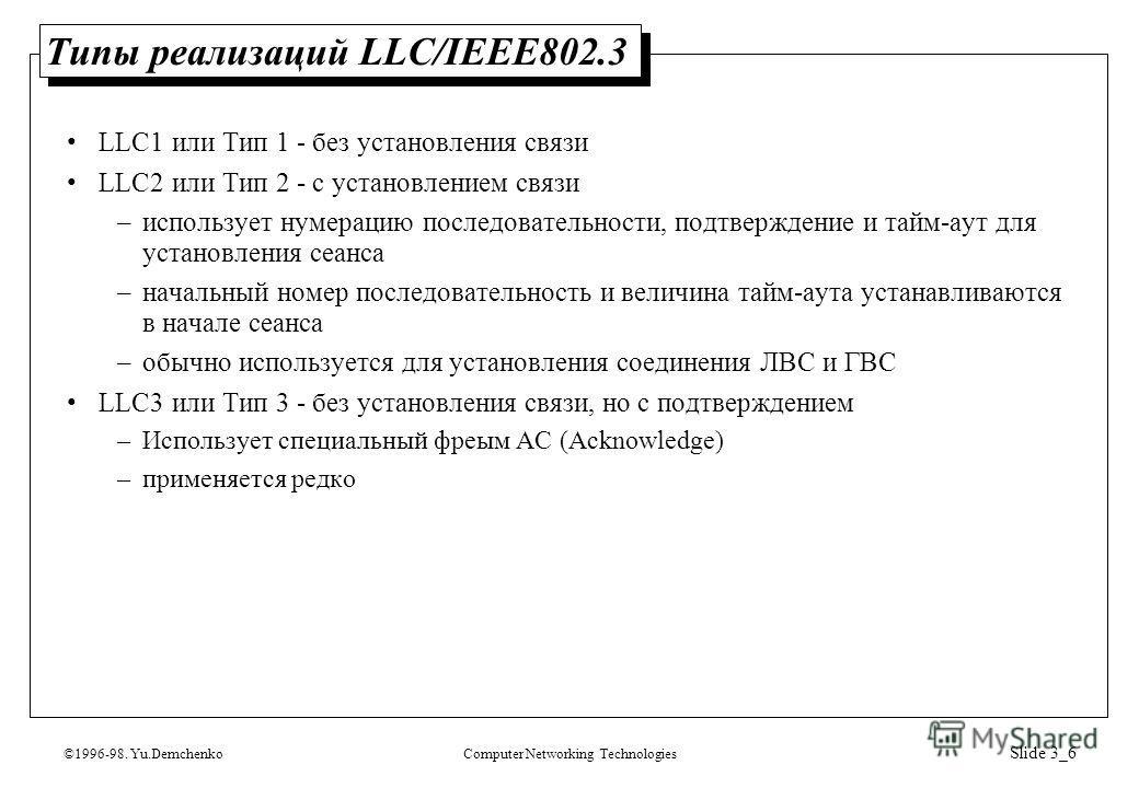 ©1996-98. Yu.DemchenkoComputer Networking Technologies Slide 3_6 Типы реализаций LLC/IEEE802.3 LLC1 или Тип 1 - без установления связи LLC2 или Тип 2 - с установлением связи –использует нумерацию последовательности, подтверждение и тайм-аут для устан