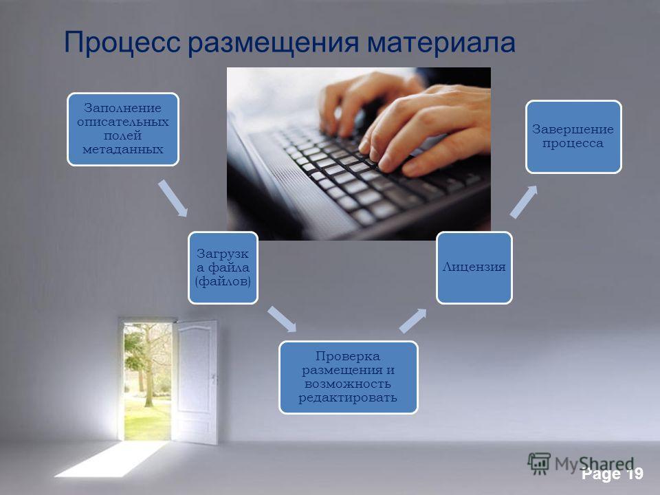 Page 19 Процесс размещения материала Заполнение описательных полей метаданных Загрузк а файла (файлов) Проверка размещения и возможность редактировать Лицензия Завершение процесса