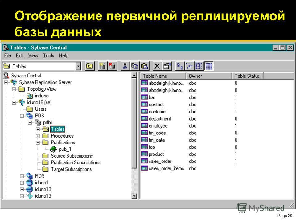 Page 20 Отображение первичной реплицируемой базы данных