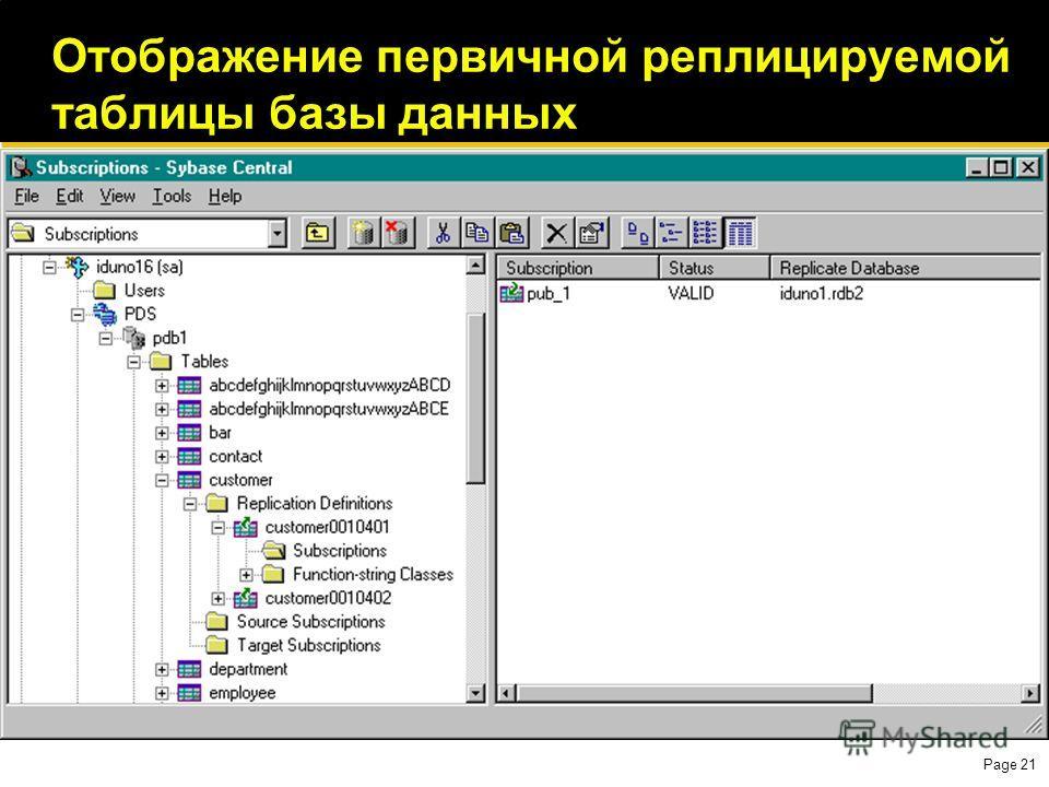 Page 21 Отображение первичной реплицируемой таблицы базы данных