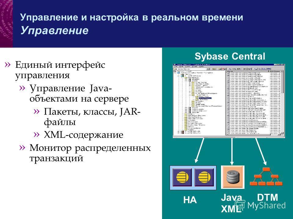 » Единый интерфейс управления » Управление Java- объектами на сервере » Пакеты, классы, JAR- файлы » XML-содержание » Монитор распределенных транзакций HA Java XML DTM Sybase Central Управление и настройка в реальном времени Управление