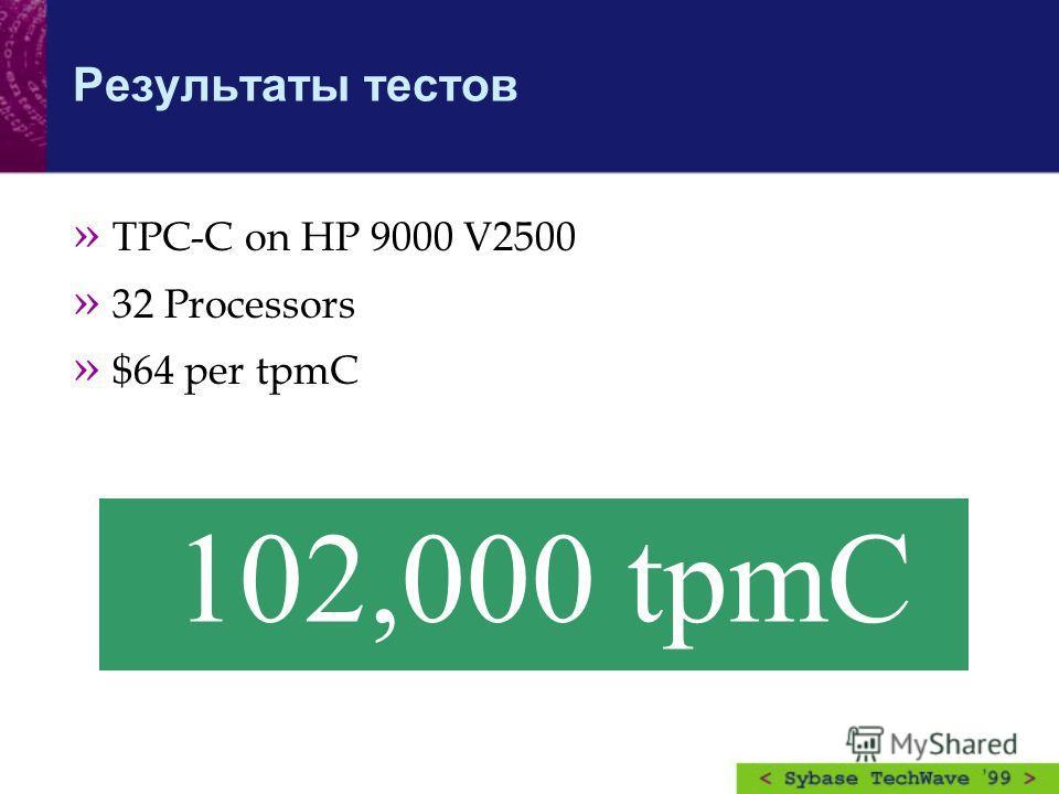 Результаты тестов » TPC-C on HP 9000 V2500 » 32 Processors » $64 per tpmC 102,000 tpmC