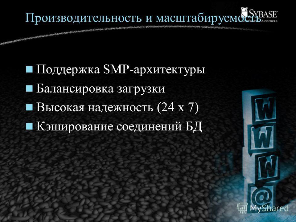 Производительность и масштабируемость Поддержка SMP-архитектуры Балансировка загрузки Высокая надежность (24 x 7) Кэширование соединений БД