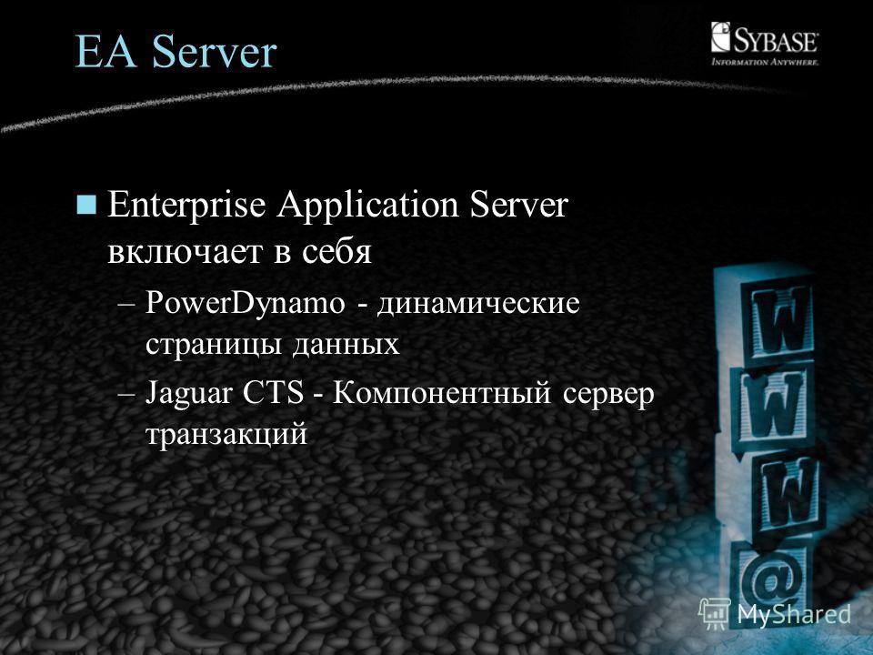 Enterprise Application Server включает в себя –PowerDynamo - динамические страницы данных –Jaguar CTS - Компонентный сервер транзакций
