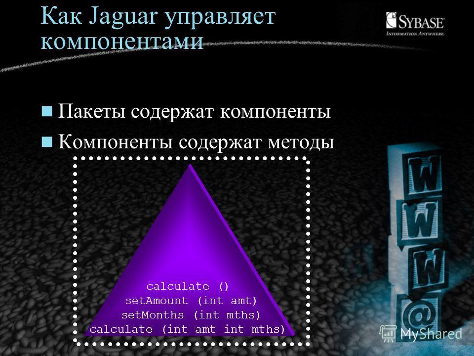Как Jaguar управляет компонентами Пакеты содержат компоненты Компоненты содержат методы calculate () setAmount (int amt) setMonths (int mths) calculate (int amt int mths)