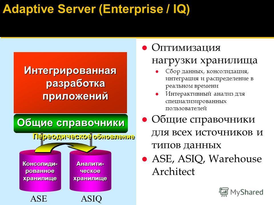 Семейство продуктов Sybase Adaptive Server Общий языковой процессор Общие сервисы Администрирование Перемещение данных Запросы Web-генерация Общие сервисы Администрирование Перемещение данных Запросы Web-генерация AdaptiveServerIQAdaptiveServerAnywhe