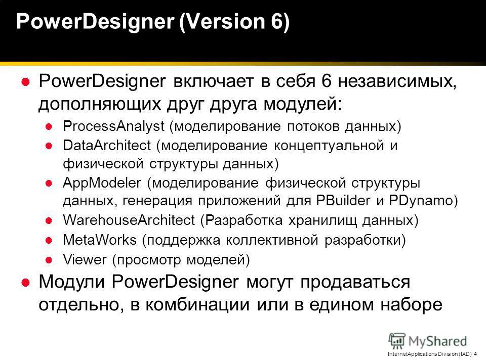 InternetApplications Division (IAD) 4 PowerDesigner включает в себя 6 независимых, дополняющих друг друга модулей: ProcessAnalyst (моделирование потоков данных) DataArchitect (моделирование концептуальной и физической структуры данных) AppModeler (мо
