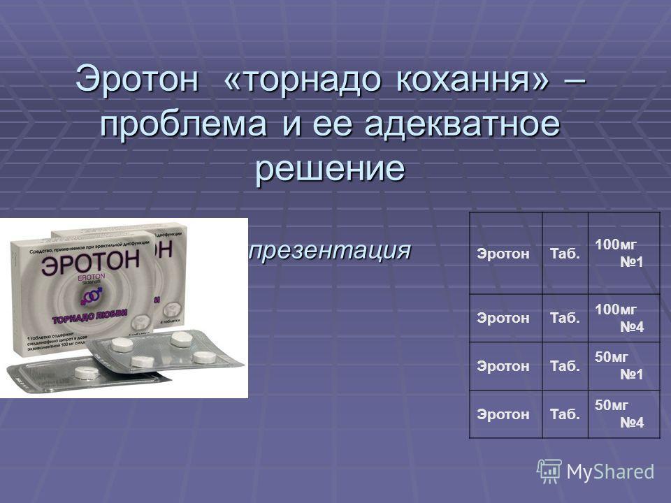 Эротон «торнадо кохання» – проблема и ее адекватное решение презентация ЭротонТаб. 100мг 1 ЭротонТаб. 100мг 4 ЭротонТаб. 50мг 1 ЭротонТаб. 50мг 4