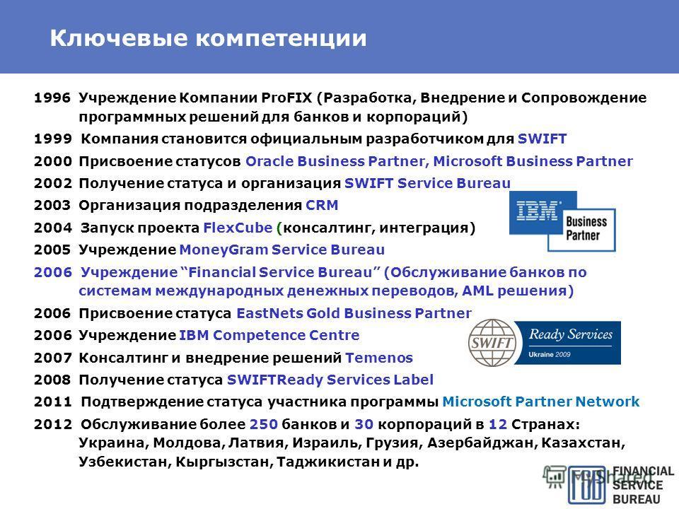 Ключевые компетенции 1996Учреждение Компании ProFIX (Разработка, Внедрение и Сопровождение программных решений для банков и корпораций) 1999 Компания становится официальным разработчиком для SWIFT 2000Присвоение статусов Oracle Business Partner, Micr