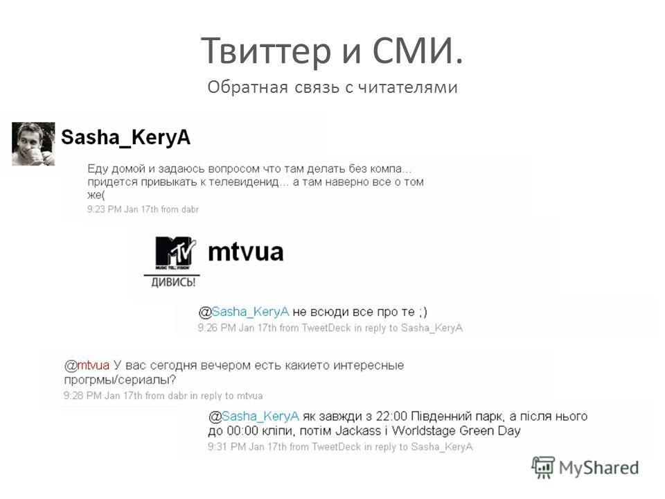 Твиттер и СМИ. Обратная связь с читателями