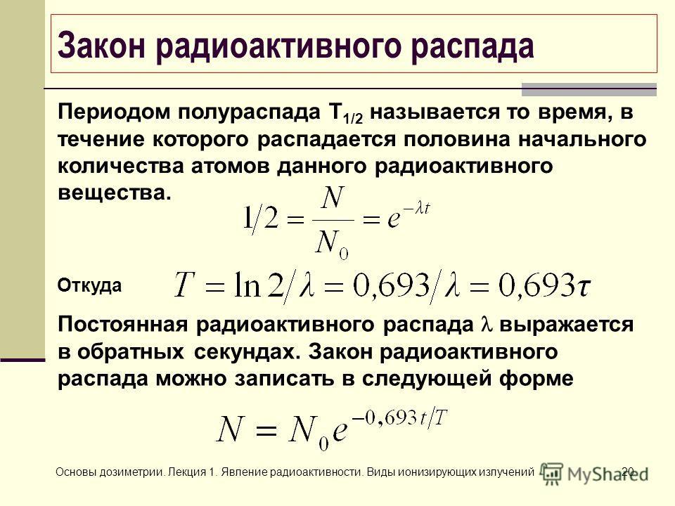 Основы дозиметрии. Лекция 1. Явление радиоактивности. Виды ионизирующих излучений20 Закон радиоактивного распада Периодом полураспада Т 1/2 называется то время, в течение которого распадается половина начального количества атомов данного радиоактивно