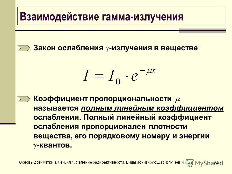 Основы дозиметрии. Лекция 1. Явление радиоактивности. Виды ионизирующих излучений32 Взаимодействие гамма-излучения Закон ослабления -излучения в веществе: Коэффициент пропорциональности называется полным линейным коэффициентом ослабления. Полный лине