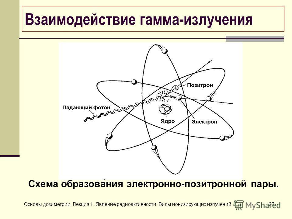 Основы дозиметрии. Лекция 1. Явление радиоактивности. Виды ионизирующих излучений37 Схема образования электронно-позитронной пары. Взаимодействие гамма-излучения