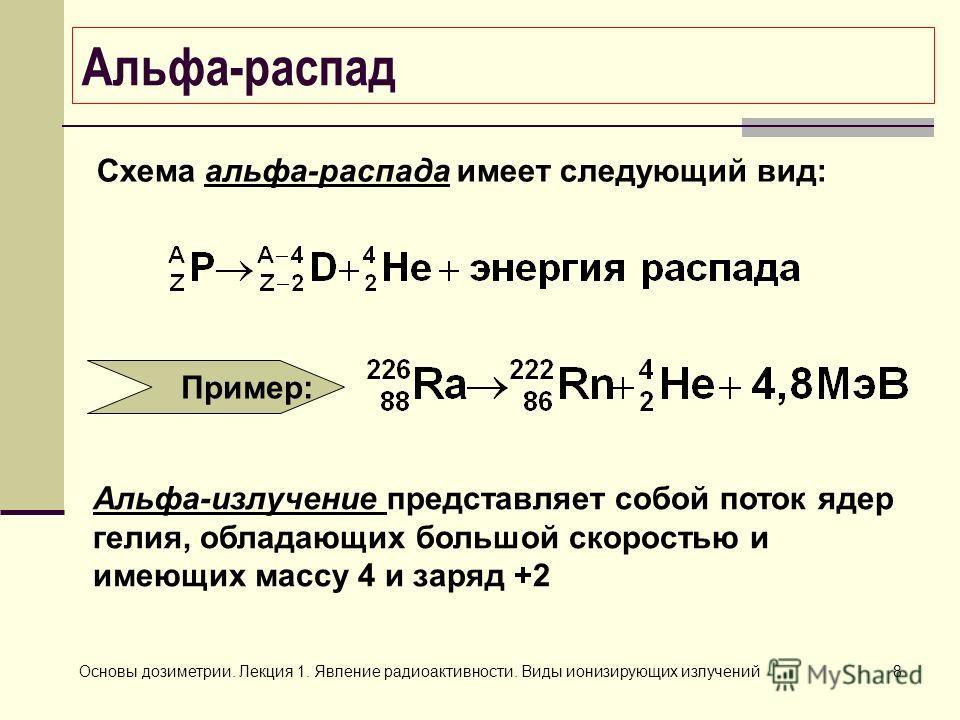 Основы дозиметрии. Лекция 1. Явление радиоактивности. Виды ионизирующих излучений8 Альфа-распад Пример: Схема альфа-распада имеет следующий вид: Альфа-излучение представляет собой поток ядер гелия, обладающих большой скоростью и имеющих массу 4 и зар